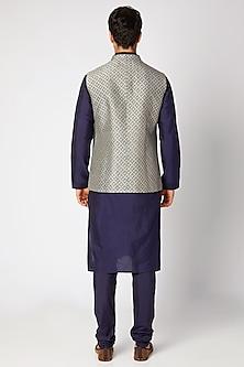 Slate Grey & Navy Blue Reversible Bundi Jacket by Bubber Couture