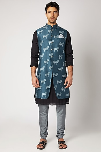Cobalt Blue & Black Reversible Sherwani by Bubber Couture
