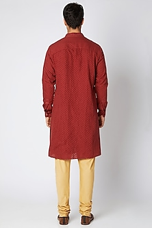 Red & Beige Kurta Set by Bubber Couture