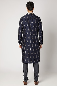 Prussian Blue Embroidered & Printed Kurta Set by Bubber Couture