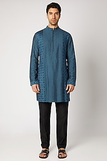 Teal Blue Printed Kurta Set by Bubber Couture