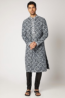 Black & Grey Embroidered Kurta Set by Bubber Couture