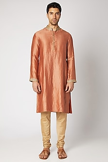 Rust Embroidered Kurta Set by Bubber Couture