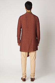 Maroon Embroidered Draped Kurta Set by Bubber Couture