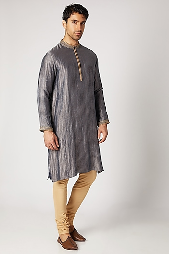Navy Blue Zardozi Embroidered Kurta Set by Bubber Couture