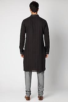 Black & Grey Striped Kurta Set by Bubber Couture