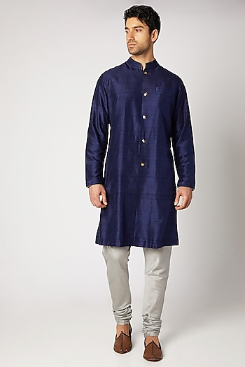 Navy Blue Pleated Kurta Set by Bubber Couture