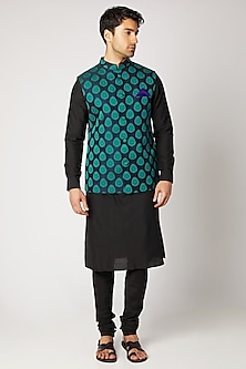 Black & Turquoise Quilted Bundi Jacket by Bubber Couture