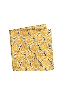 Yellow Printed Pocket Square by Bubber Couture