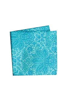 Blue Printed Pocket Square by Bubber Couture