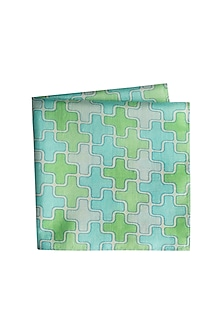 Green & Blue Printed Pocket Square by Bubber Couture