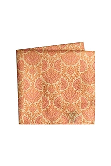 Peach & Beige Printed Pocket Square by Bubber Couture