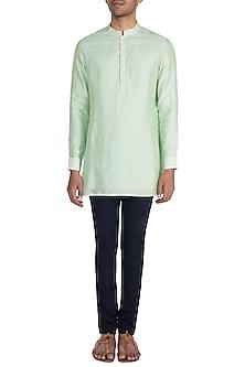 Mint & Mellow Yellow Digital Printed Shirt Kurta by Bubber Couture