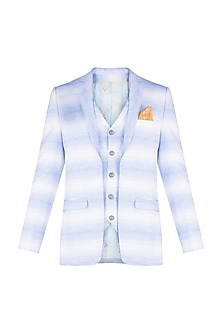 Blue Cyan & Oatmeal Colored Striped Jacket With Attached Waistcoat by Bubber Couture