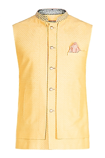 Turmeric & Washed Coral Embroidered Bundi Jacket by Bubber Couture