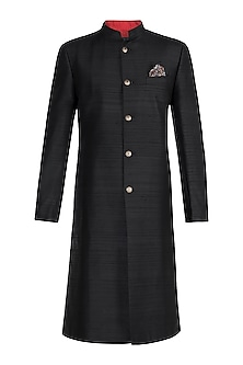 Black Sherwani Kurta With Gold Buttons by Bubber Couture