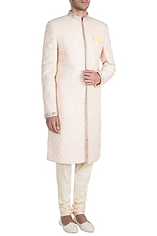 Peach & Off White Embroidered Sherwani Kurta by Bubber Couture