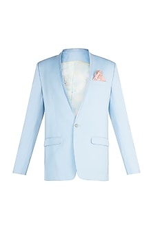 Cyan Corduroy Lapel Jacket by Bubber Couture
