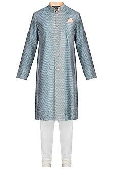 Slate Grey Embroidered Printed Kurta Set by Bubber Couture