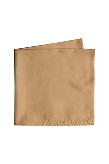 Beige Silk Pocket Square by Bubber Couture