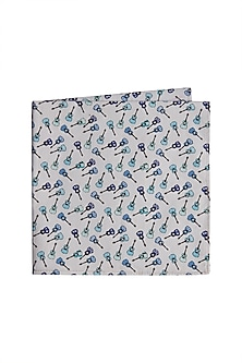 Sky Blue Printed Pocket Square by Bubber Couture