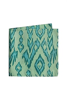 Blue Silk Printed Pocket Square by Bubber Couture