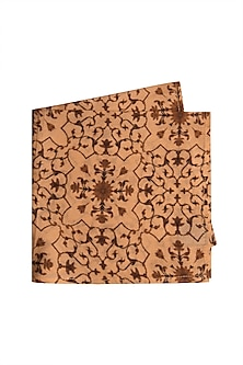 Pastel Orange Printed Pocket Square by Bubber Couture