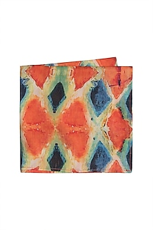 Orange Printed Pocket Square by Bubber Couture