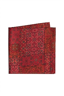Red Printed Pocket Square by Bubber Couture