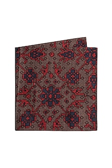 Brown Printed Pocket Square by Bubber Couture