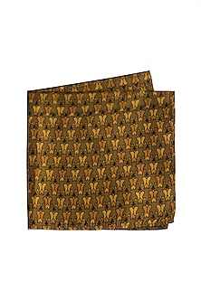 Beige Printed Silk Pocket Square by Bubber Couture