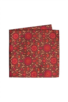Red Silk Printed Pocket Square by Bubber Couture