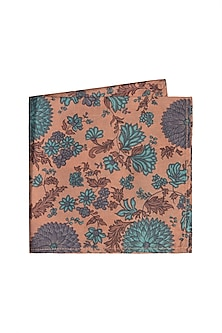 Teal Printed Pocket Square by Bubber Couture