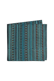 Blue Printed Silk Pocket Square by Bubber Couture