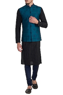 Turquoise embroidered bundi jacket by Bubber Couture