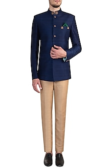 Sapphire blue embroidered bandhgala jacket by Bubber Couture