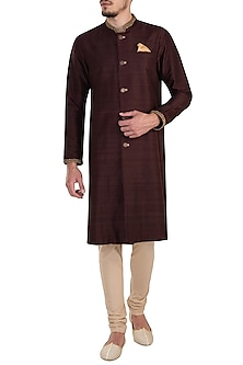 Wine embroidered kurta set by Bubber Couture