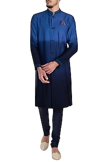 Cobalt blue embroidered kurta set by Bubber Couture