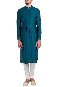 Jade green textured kurta set by Bubber Couture