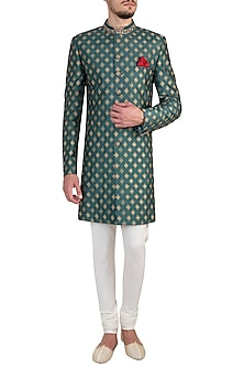 Jade green embroidered sherwani by Bubber Couture