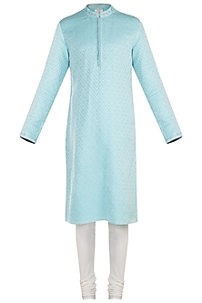 Sky blue embroidered kurta set by Bubber Couture