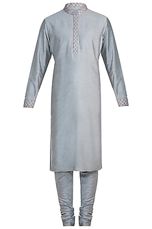 Grey printed reversible kurta set by BUBBER COUTURE