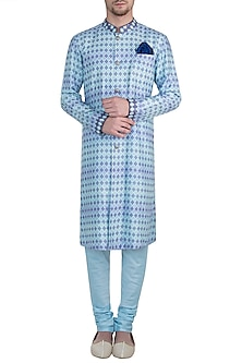 Aquamarine embroidered kurta set by BUBBER COUTURE