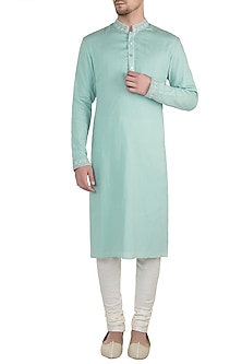 Blue embroidered lucknowi kurta set by BUBBER COUTURE