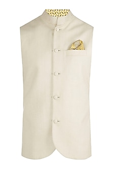 Beige herringbone bundi jacket by BUBBER COUTURE