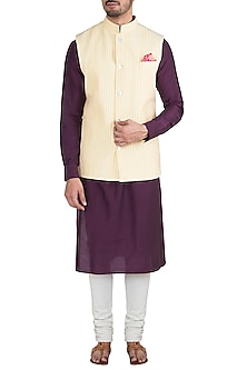 Yellow pintucked bundi jacket by BUBBER COUTURE