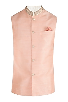Peach embroidered bundi jacket by BUBBER COUTURE