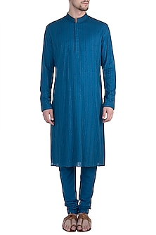 Azure embroidered kurta set by BUBBER COUTURE