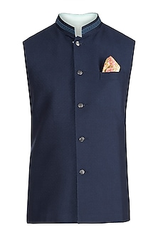 Navy blue bundi jacket by BUBBER COUTURE