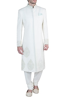 Off white embroidered sherwani by Bubber Couture